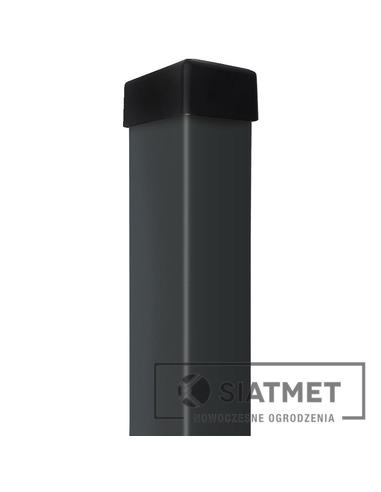 Słupek 60x40x1,2 H 2200 ocynk+kolor ciemny grafit RAL 7016+kapturek - 1 - slupek-60x40x12-h-2200-ocynkkolor-ciemny-grafit-ral-70